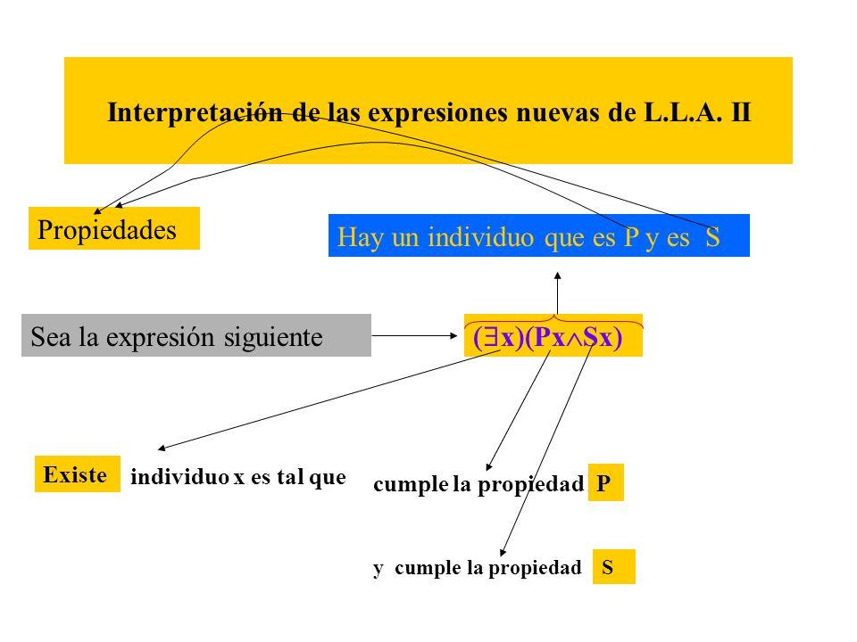 Interpretación de las expresiones nuevas de L.L.A. II Sea la expresión siguiente x Px Sx Existe individuo x es tal que Existe cumple la propiedad PP y