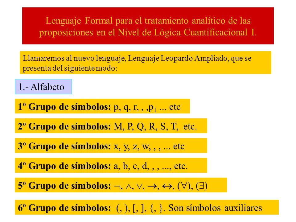 Lenguaje Formal para el tratamiento analítico de las proposiciones en el Nivel de Lógica Cuantificacional I. Llamaremos al nuevo lenguaje, Lenguaje Le