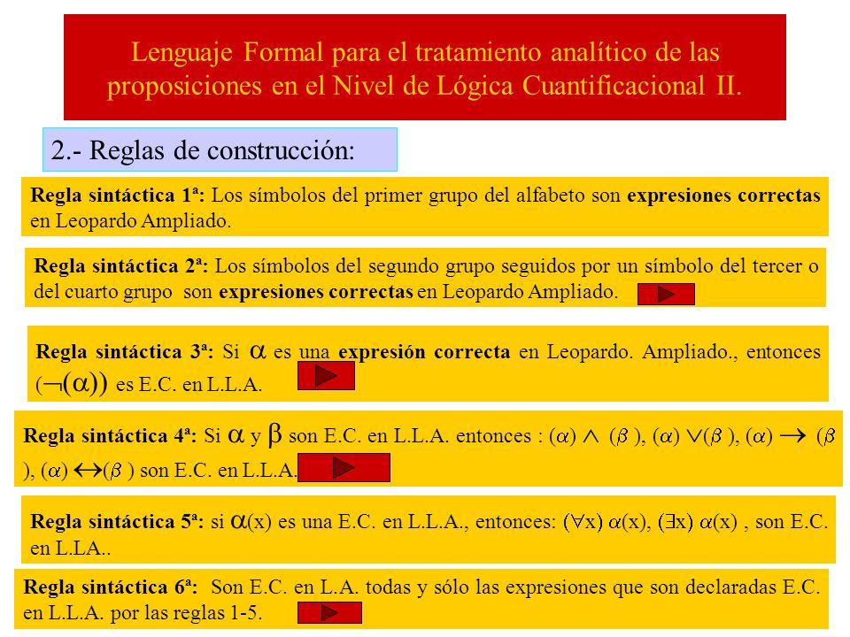 Lenguaje Formal para el tratamiento analítico de las proposiciones en el Nivel de Lógica Cuantificacional II. 2.- Reglas de construcción: Regla sintác