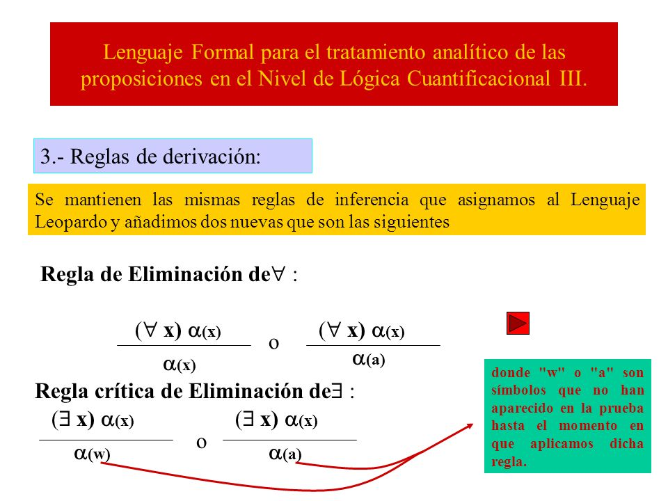 Lenguaje Formal para el tratamiento analítico de las proposiciones en el Nivel de Lógica Cuantificacional III. 3.- Reglas de derivación: Se mantienen