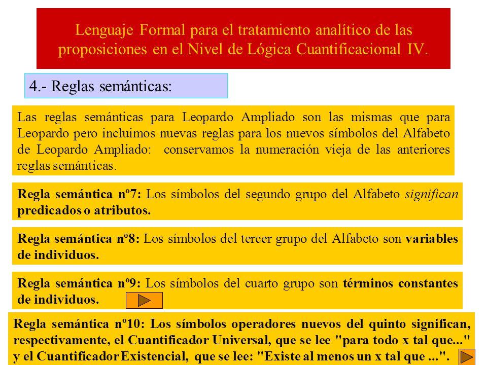 Lenguaje Formal para el tratamiento analítico de las proposiciones en el Nivel de Lógica Cuantificacional IV. 4.- Reglas semánticas: Las reglas semánt