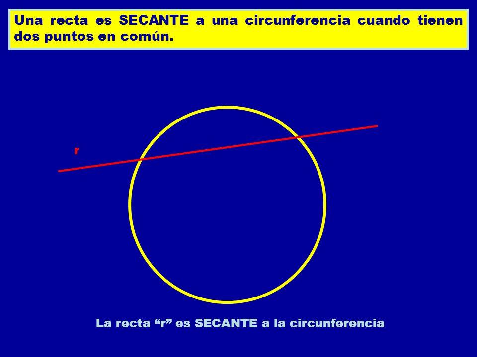 Una recta es SECANTE a una circunferencia cuando tienen dos puntos en común. La recta r es SECANTE a la circunferencia r
