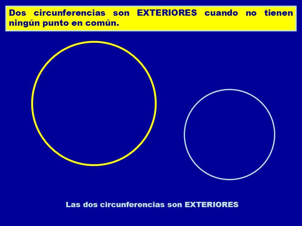 Dos circunferencias son EXTERIORES cuando no tienen ningún punto en común. Las dos circunferencias son EXTERIORES
