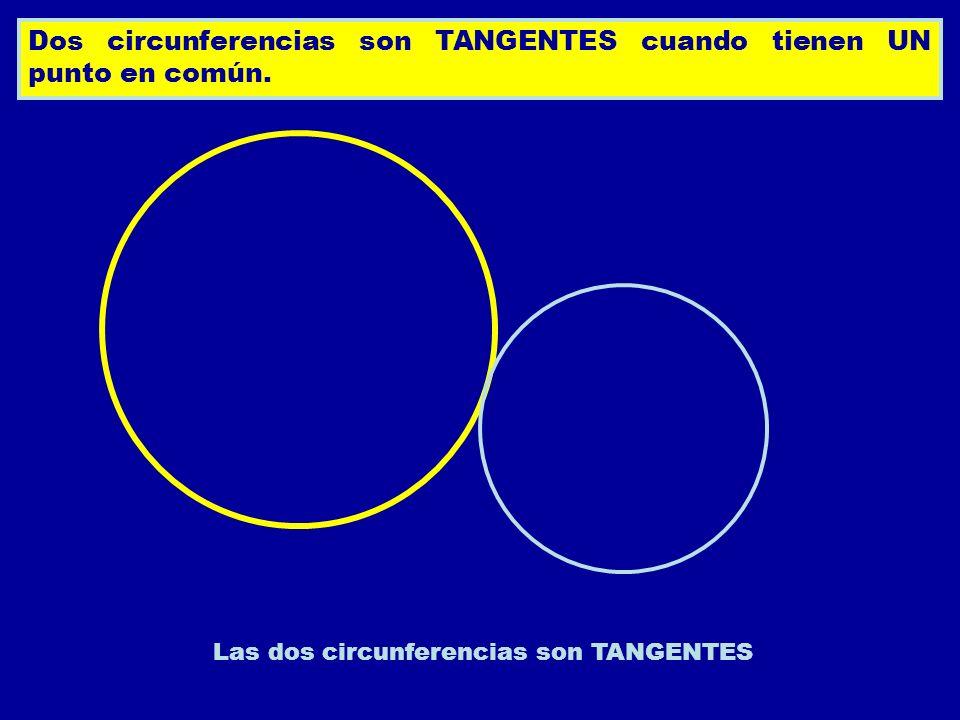 Dos circunferencias son TANGENTES cuando tienen UN punto en común. Las dos circunferencias son TANGENTES