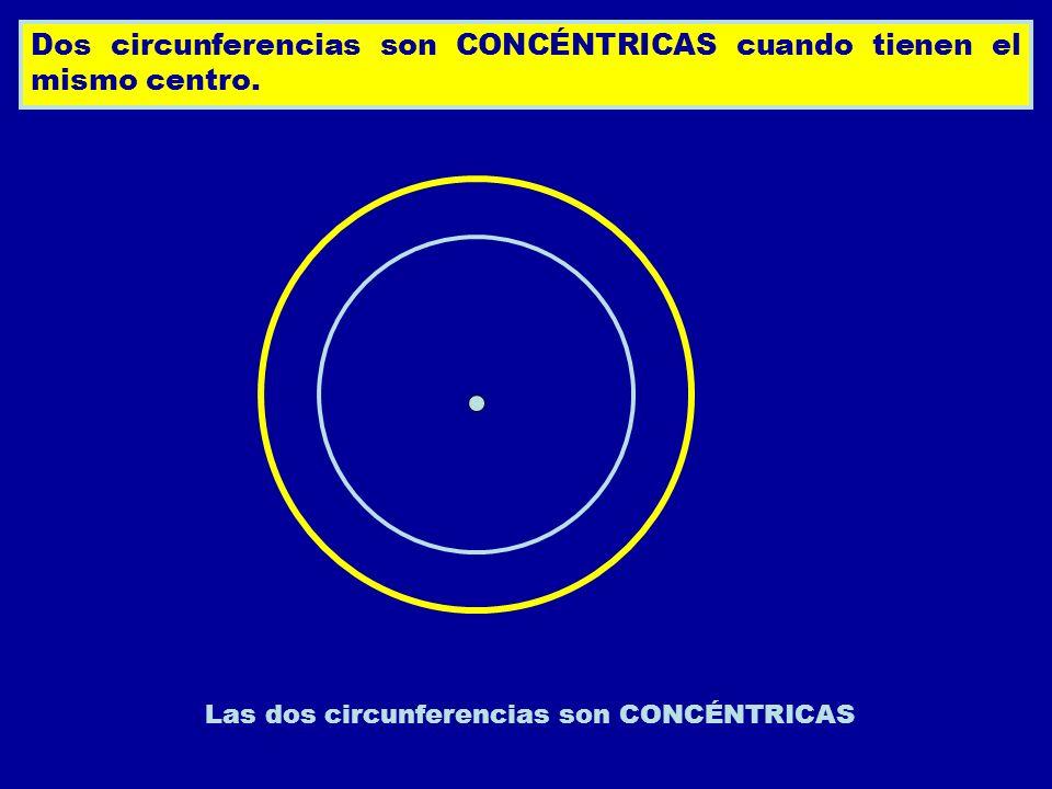 Dos circunferencias son CONCÉNTRICAS cuando tienen el mismo centro. Las dos circunferencias son CONCÉNTRICAS