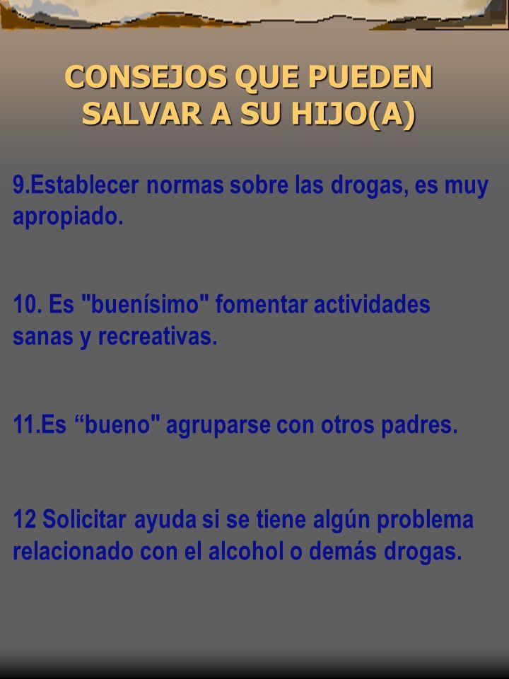 9.Establecer normas sobre las drogas, es muy apropiado. 10. Es