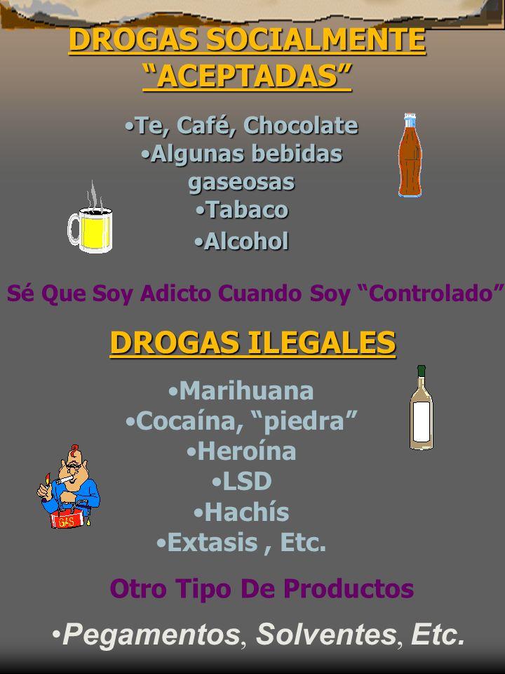 DROGAS SOCIALMENTE ACEPTADAS Te, Café, ChocolateTe, Café, Chocolate Algunas bebidas gaseosasAlgunas bebidas gaseosas TabacoTabaco AlcoholAlcohol Sé Qu