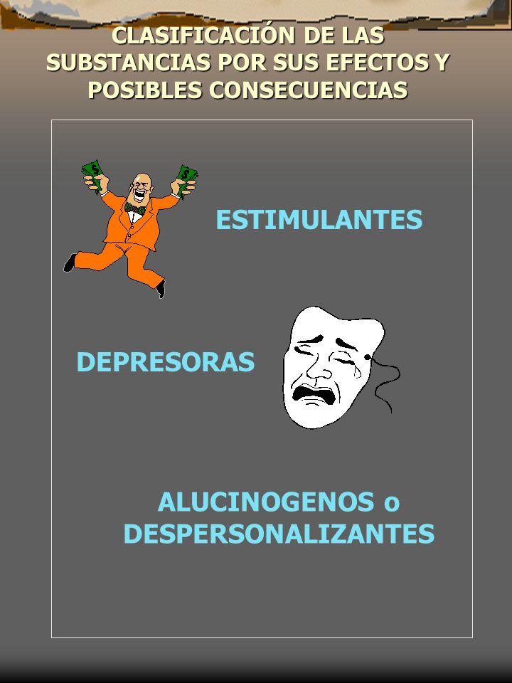 CLASIFICACIÓN DE LAS SUBSTANCIAS POR SUS EFECTOS Y POSIBLES CONSECUENCIAS ESTIMULANTES DEPRESORAS ALUCINOGENOS o DESPERSONALIZANTES