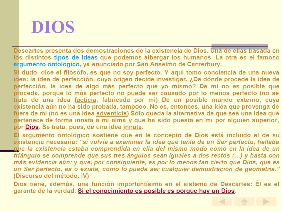DIOS Descartes presenta dos demostraciones de la existencia de Dios. Una de ellas basada en los distintos tipos de ideas que podemos albergar los huma