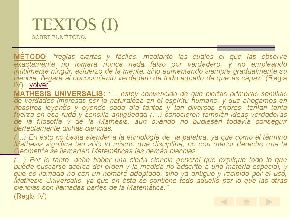 TEXTOS (I) SOBRE EL MÉTODO. MÉTODO: reglas ciertas y fáciles, mediante las cuales el que las observe exactamente no tomará nunca nada falso por verdad