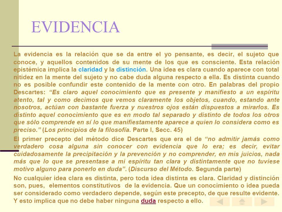 EVIDENCIA La evidencia es la relación que se da entre el yo pensante, es decir, el sujeto que conoce, y aquellos contenidos de su mente de los que es