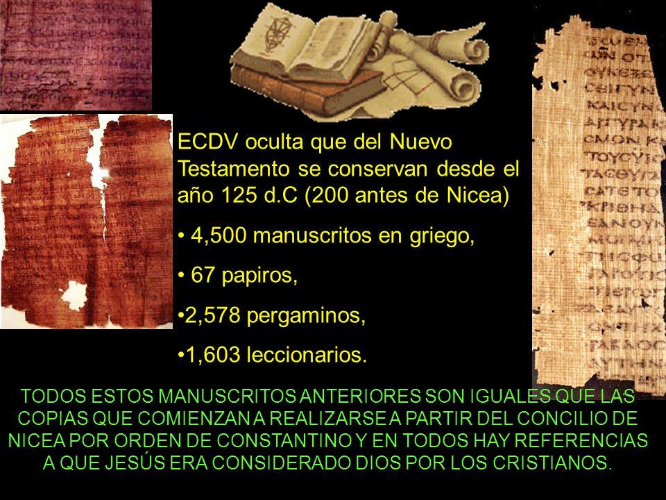 ECDV oculta que del Nuevo Testamento se conservan desde el año 125 d.C (200 antes de Nicea) 4,500 manuscritos en griego, 67 papiros, 2,578 pergaminos, 1,603 leccionarios.