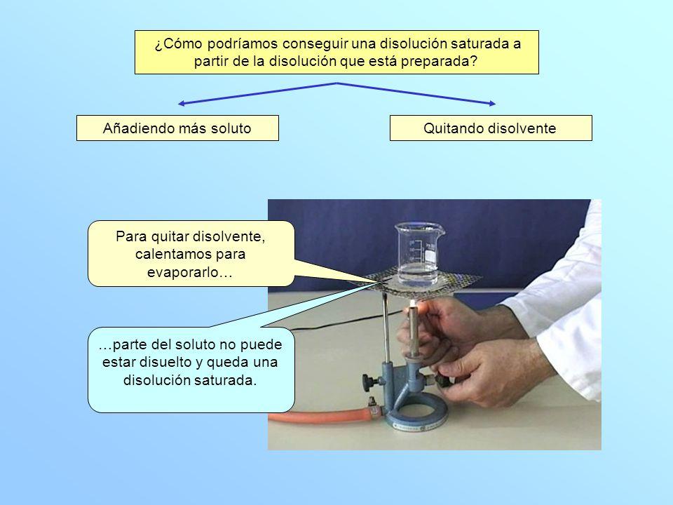 ¿Cómo podríamos conseguir una disolución saturada a partir de la disolución que está preparada? Añadiendo más solutoQuitando disolvente Para quitar di