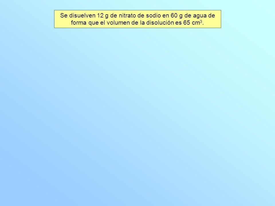Se disuelven 12 g de nitrato de sodio en 60 g de agua de forma que el volumen de la disolución es 65 cm 3.