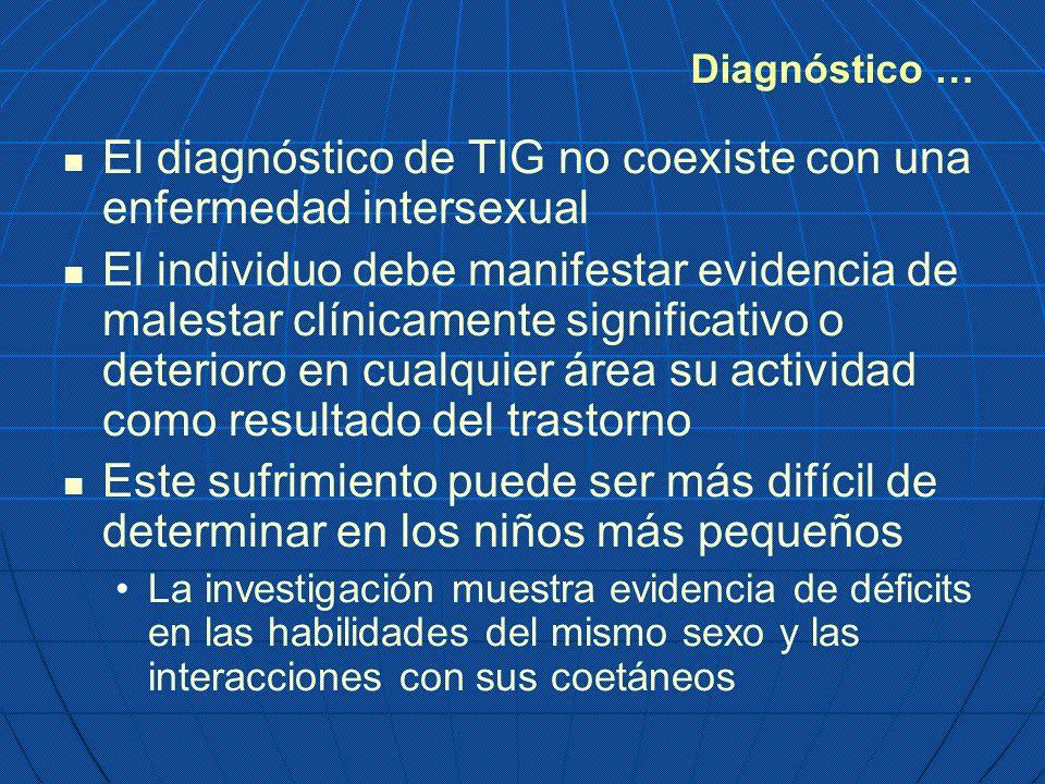 El diagnóstico de TIG no coexiste con una enfermedad intersexual El individuo debe manifestar evidencia de malestar clínicamente significativo o deter