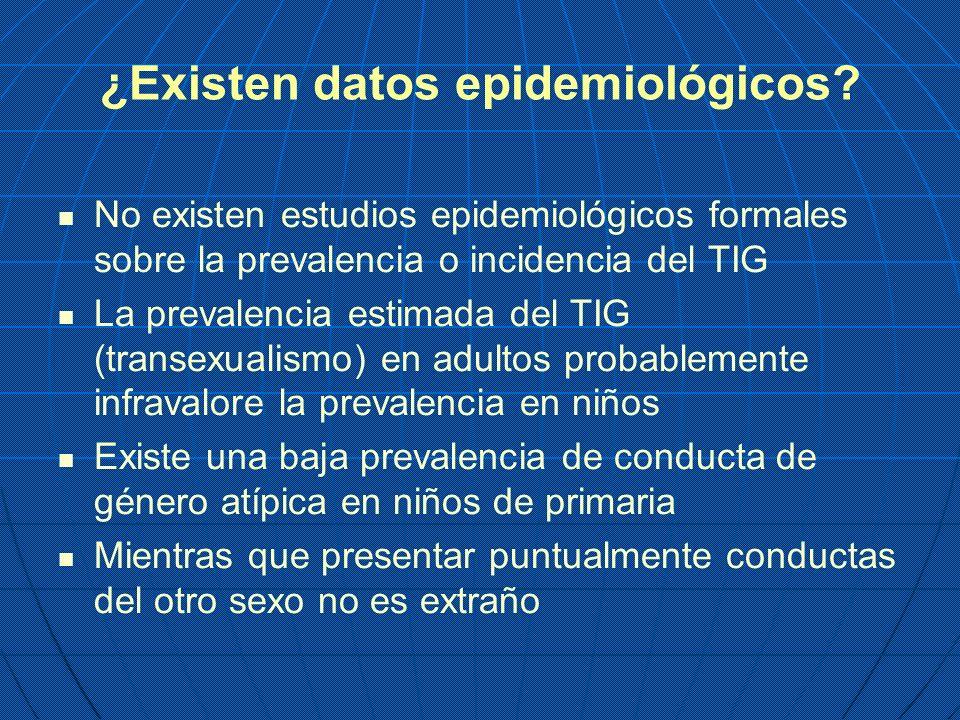 ¿Existen datos epidemiológicos? No existen estudios epidemiológicos formales sobre la prevalencia o incidencia del TIG La prevalencia estimada del TIG