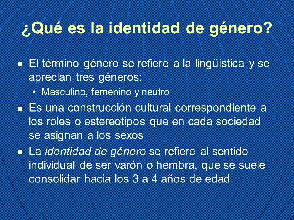 ¿Qué es la identidad de género? El término género se refiere a la lingüística y se aprecian tres géneros: Masculino, femenino y neutro Es una construc