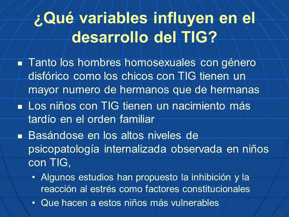 ¿Qué variables influyen en el desarrollo del TIG? Tanto los hombres homosexuales con género disfórico como los chicos con TIG tienen un mayor numero d