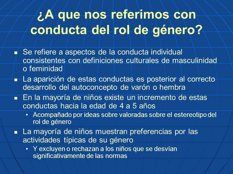 ¿A que nos referimos con conducta del rol de género? Se refiere a aspectos de la conducta individual consistentes con definiciones culturales de mascu