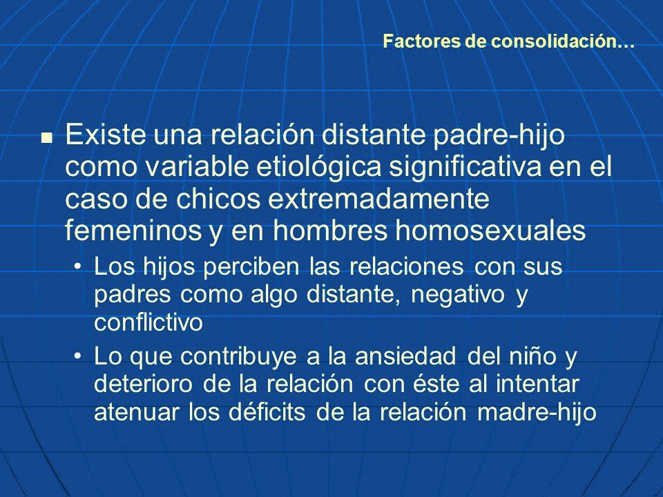 Existe una relación distante padre-hijo como variable etiológica significativa en el caso de chicos extremadamente femeninos y en hombres homosexuales