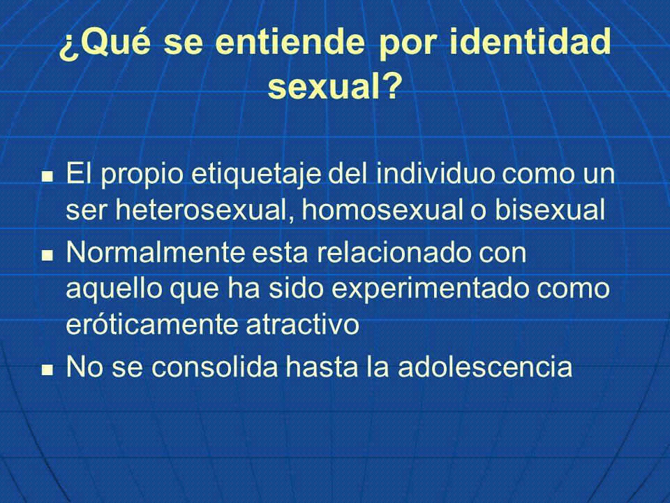 ¿Qué se entiende por identidad sexual? El propio etiquetaje del individuo como un ser heterosexual, homosexual o bisexual Normalmente esta relacionado