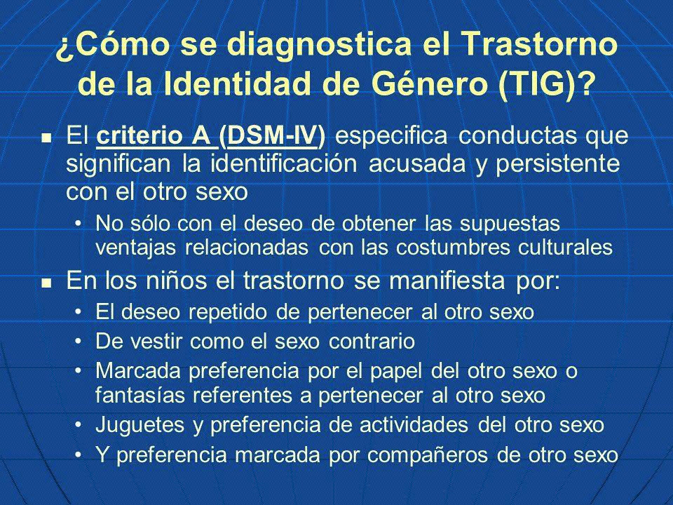 ¿Cómo se diagnostica el Trastorno de la Identidad de Género (TIG)? El criterio A (DSM-IV) especifica conductas que significan la identificación acusad