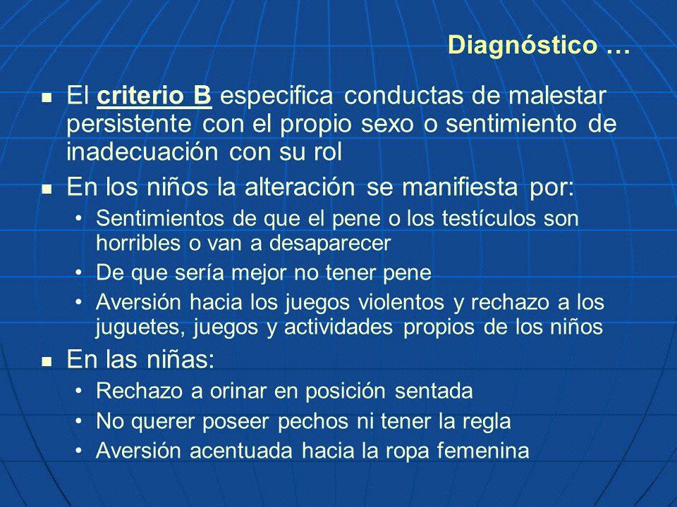 El criterio B especifica conductas de malestar persistente con el propio sexo o sentimiento de inadecuación con su rol En los niños la alteración se m