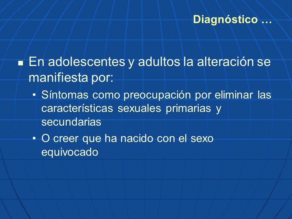 En adolescentes y adultos la alteración se manifiesta por: Síntomas como preocupación por eliminar las características sexuales primarias y secundaria