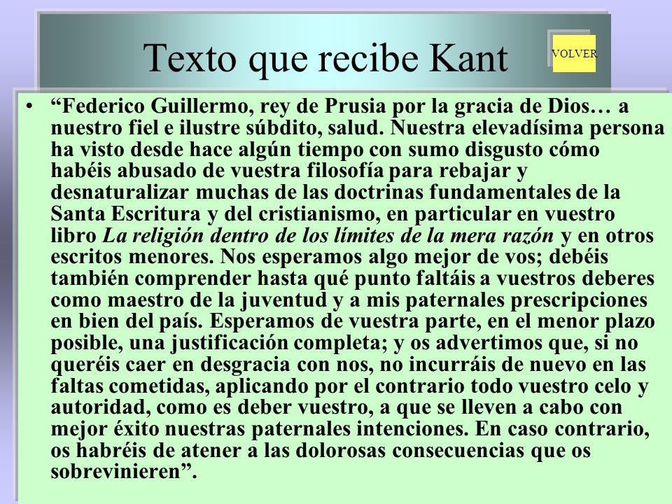 Texto que recibe Kant Federico Guillermo, rey de Prusia por la gracia de Dios… a nuestro fiel e ilustre súbdito, salud. Nuestra elevadísima persona ha