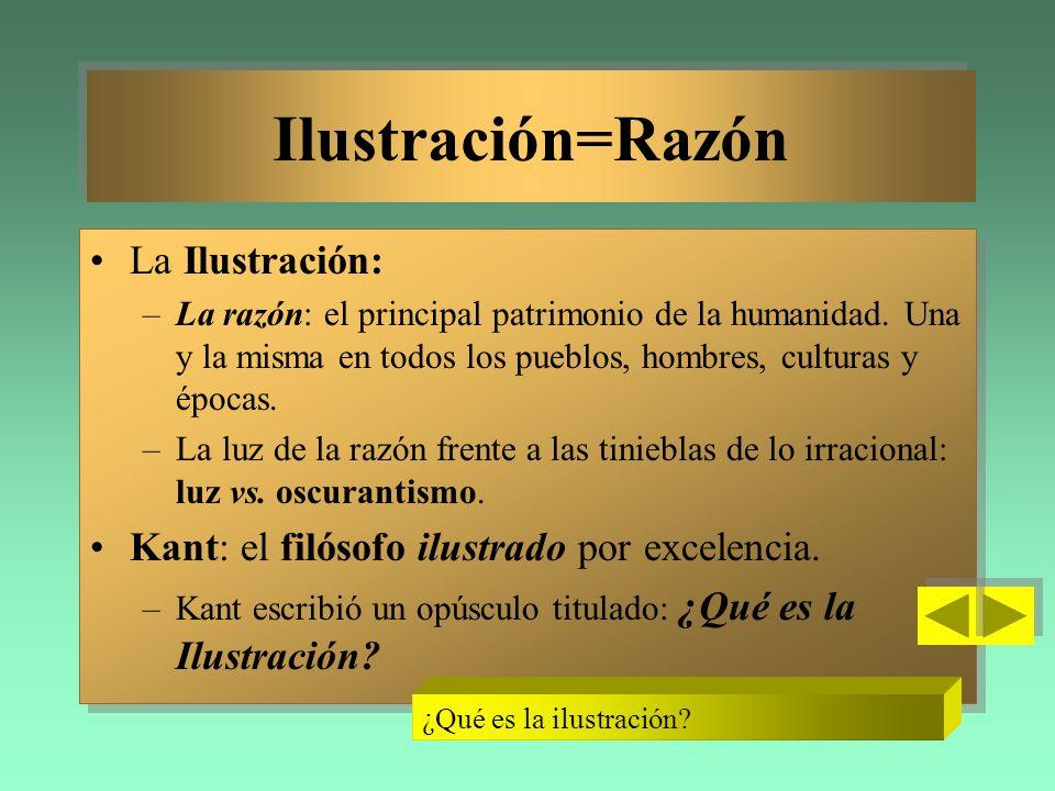 Ilustración=Razón Ilustración=Razón La Ilustración: –La razón: el principal patrimonio de la humanidad. Una y la misma en todos los pueblos, hombres,