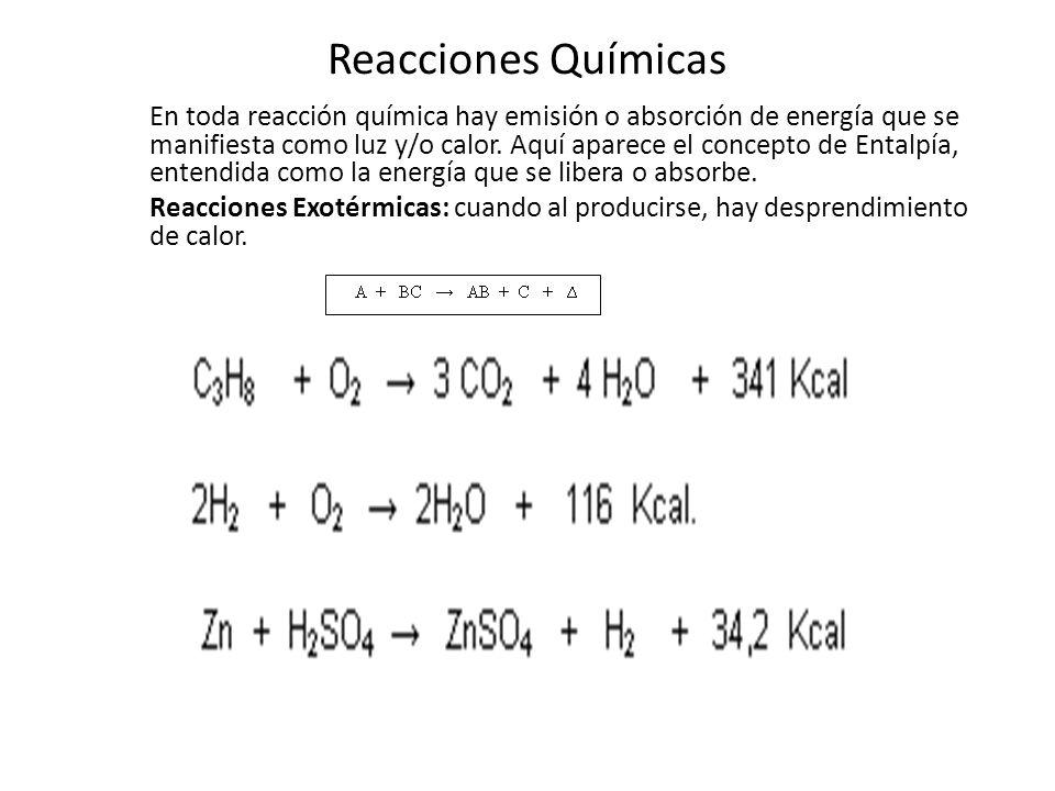 Reacciones Químicas Reacciones Endotérmicas: cuando es necesario la absorción de calor para que se puedan llevar a cabo una reacción química.