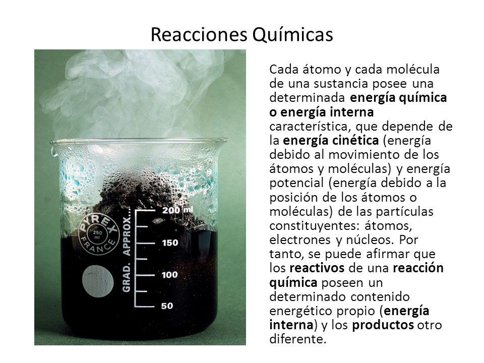 Reacciones Químicas Si en una reacción química disminuye la energía interna del sistema, se desprende energía.