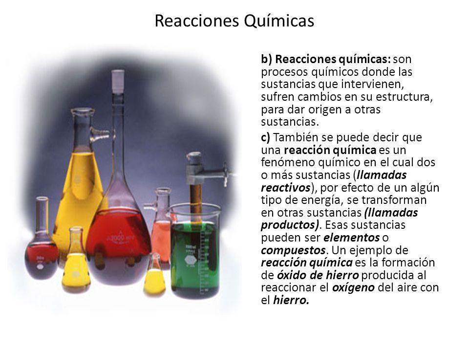 Reacciones Químicas Los productos obtenidos a partir de los reactivos dependen de las condiciones bajo las que se da la reacción química; no obstante, se ha comprobado experimentalmente que, aunque los productos pueden variar según cambien las condiciones, determinadas cantidades permanecen constantes en cualquier reacción química.