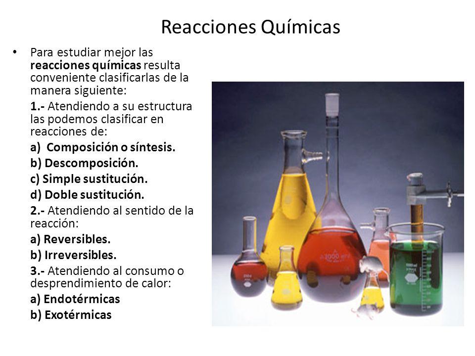 Reacciones de composición o síntesis: ocurren cuando dos o más elementos o compuestos se unen para formar uno o varios compuestos más complejos o de mayor masa molecular.