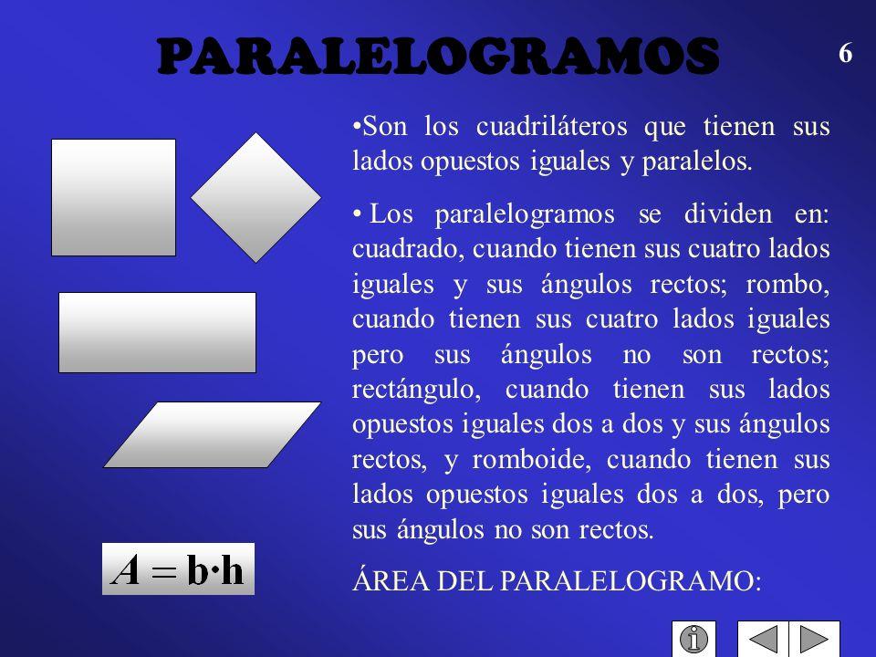 5 Es el cuadrilátero que tiene dos de sus lados paralelos y los otros dos no. Altura de un trapecio es la perpendicular bajada de una base a la otra.