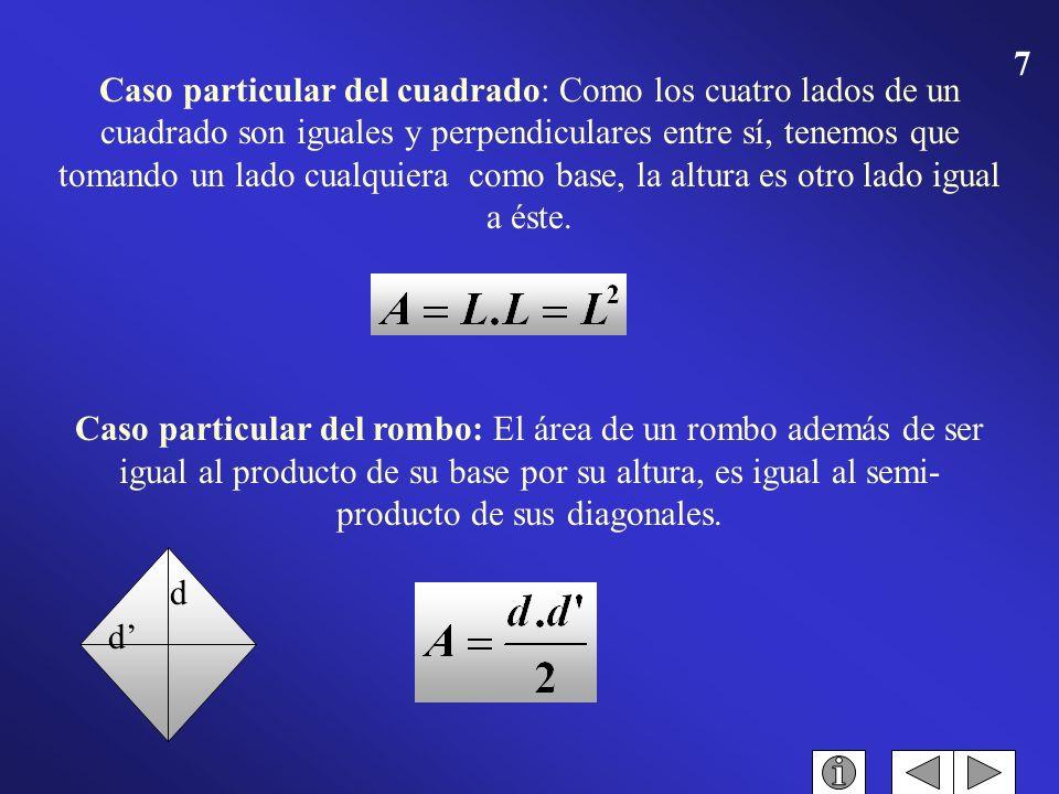 6 Son los cuadriláteros que tienen sus lados opuestos iguales y paralelos. Los paralelogramos se dividen en: cuadrado, cuando tienen sus cuatro lados