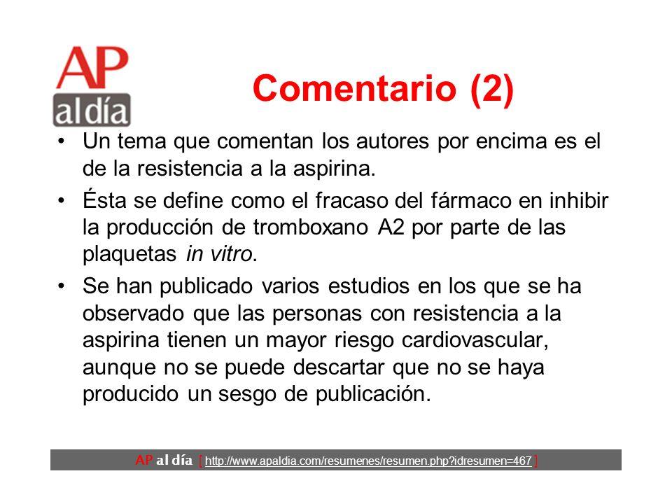 AP al día [ http://www.apaldia.com/resumenes/resumen.php idresumen=467 ] Comentario (2) Un tema que comentan los autores por encima es el de la resistencia a la aspirina.
