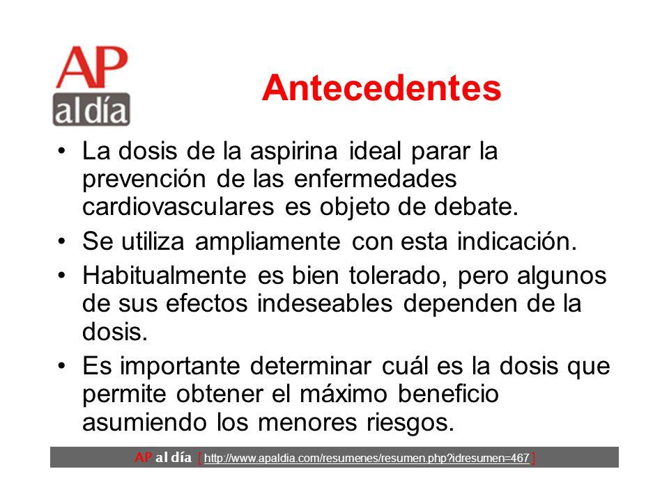 AP al día [ http://www.apaldia.com/resumenes/resumen.php idresumen=467 ] Antecedentes La dosis de la aspirina ideal parar la prevención de las enfermedades cardiovasculares es objeto de debate.