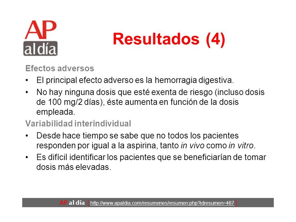 AP al día [ http://www.apaldia.com/resumenes/resumen.php idresumen=467 ] Resultados (4) Efectos adversos El principal efecto adverso es la hemorragia digestiva.