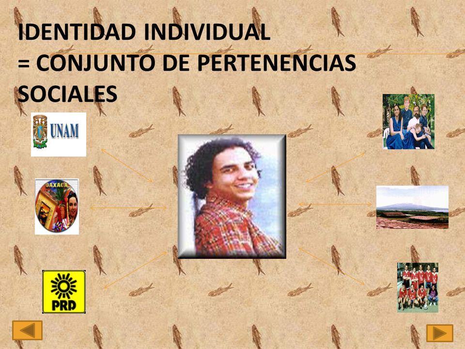 IDENTIDAD INDIVIDUAL = CONJUNTO DE PERTENENCIAS SOCIALES