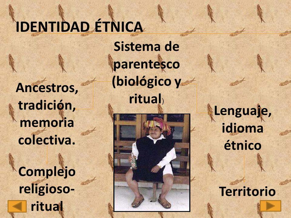 Sistema de parentesco (biológico y ritual ) Lenguaje, idioma étnico Territorio Ancestros, tradición, memoria colectiva.