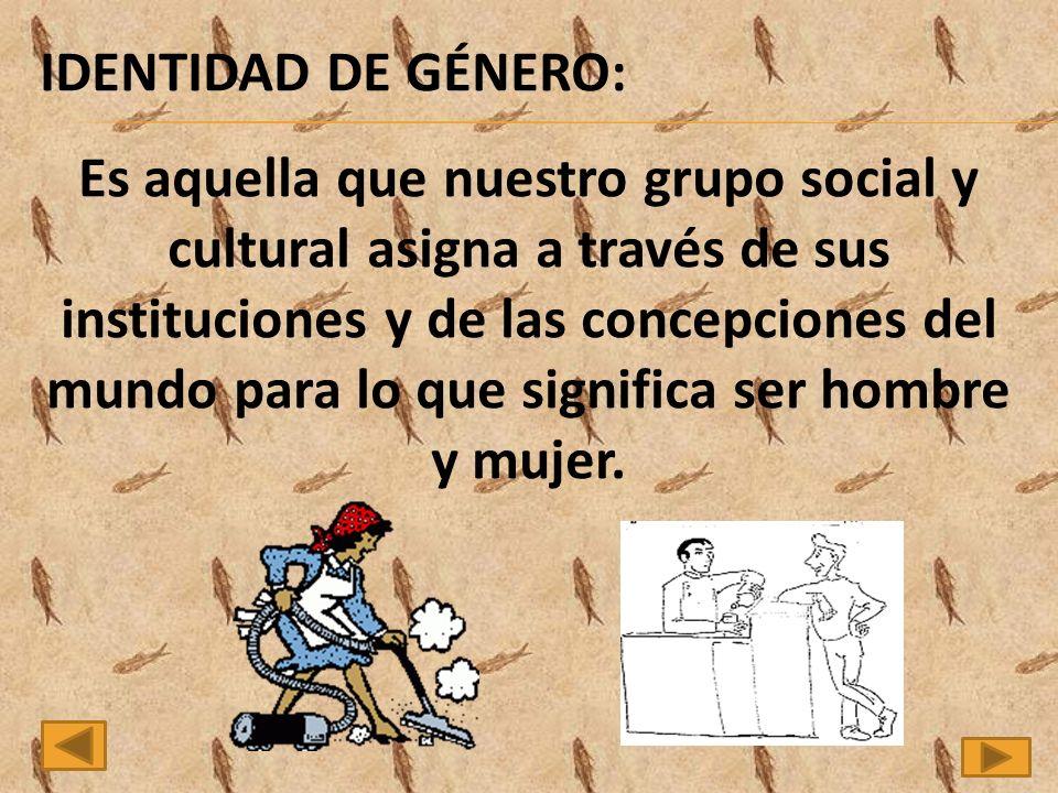 IDENTIDAD DE GÉNERO: Es aquella que nuestro grupo social y cultural asigna a través de sus instituciones y de las concepciones del mundo para lo que significa ser hombre y mujer.