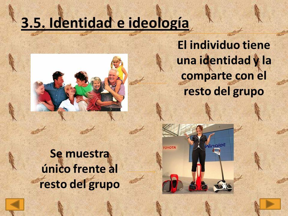 3.5. Identidad e ideología El individuo tiene una identidad y la comparte con el resto del grupo Se muestra único frente al resto del grupo