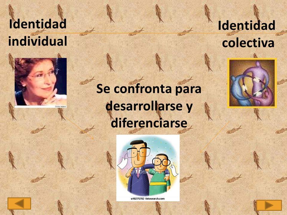 Identidad individual Identidad colectiva Se confronta para desarrollarse y diferenciarse