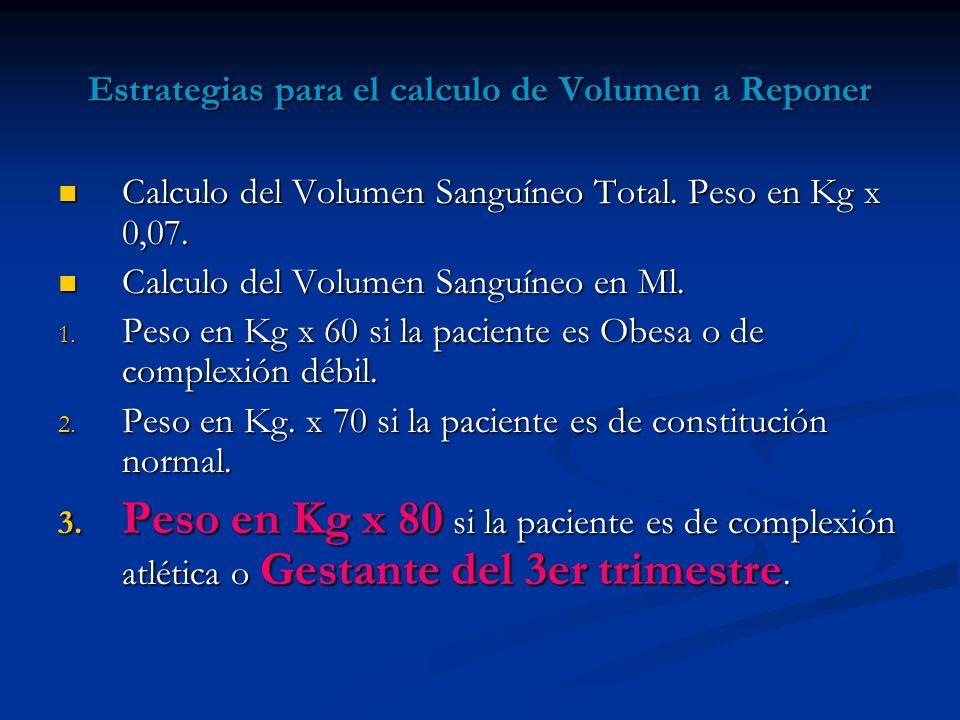 Estrategias para el calculo de Volumen a Reponer Calculo del Volumen Sanguíneo Total. Peso en Kg x 0,07. Calculo del Volumen Sanguíneo Total. Peso en