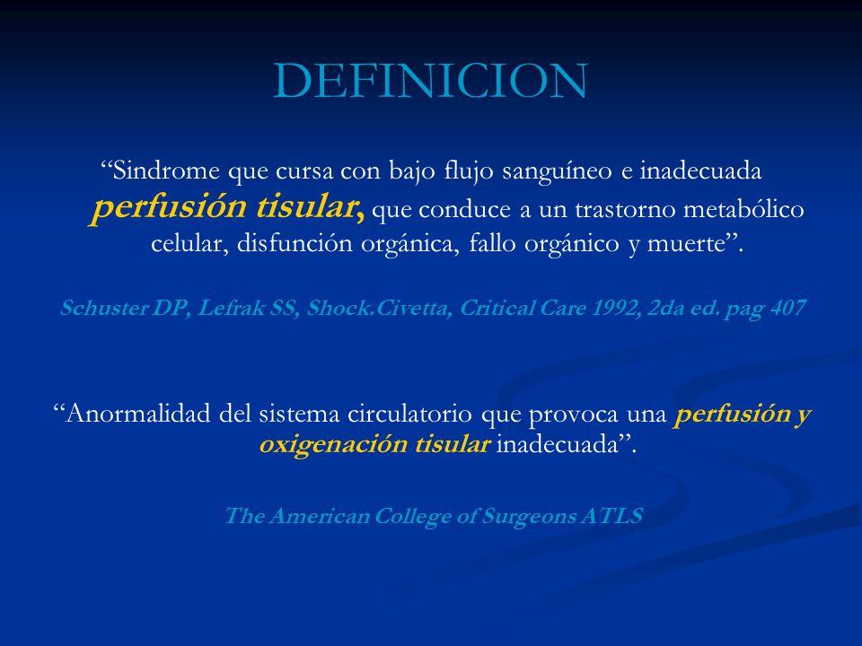 DEFINICION Sindrome que cursa con bajo flujo sanguíneo e inadecuada perfusión tisular, que conduce a un trastorno metabólico celular, disfunción orgán