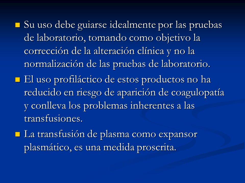 Su uso debe guiarse idealmente por las pruebas de laboratorio, tomando como objetivo la corrección de la alteración clínica y no la normalización de l
