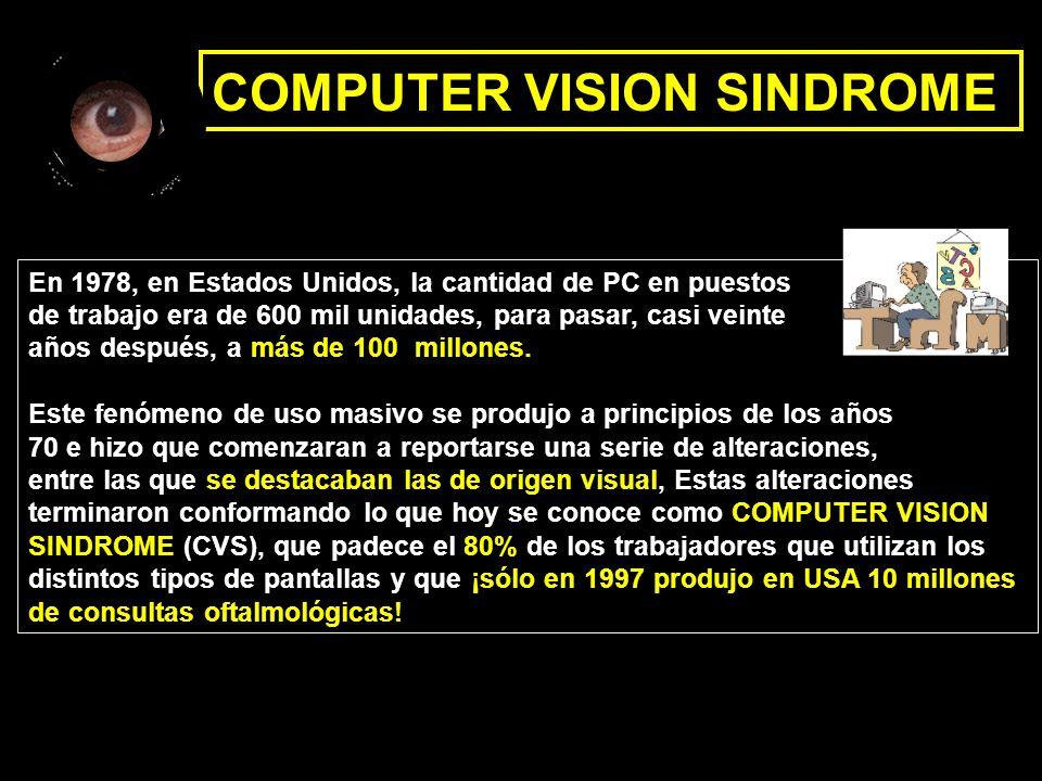 COMPUTER VISION SINDROME En 1978, en Estados Unidos, la cantidad de PC en puestos de trabajo era de 600 mil unidades, para pasar, casi veinte años des