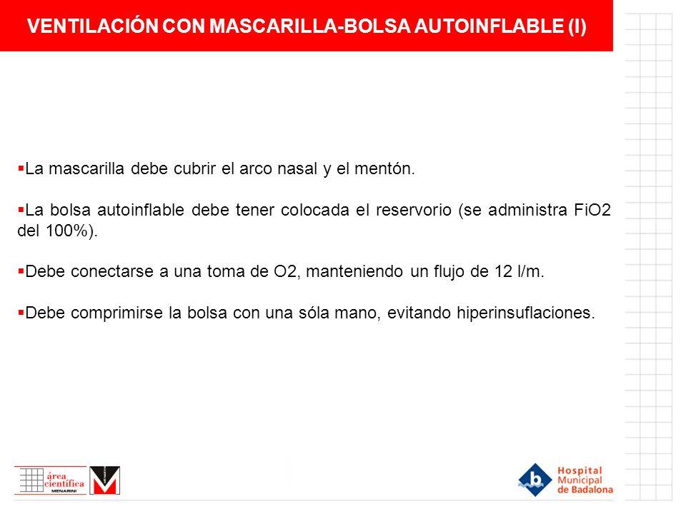VENTILACIÓN CON MASCARILLA-BOLSA AUTOINFLABLE (I) La mascarilla debe cubrir el arco nasal y el mentón. La bolsa autoinflable debe tener colocada el re