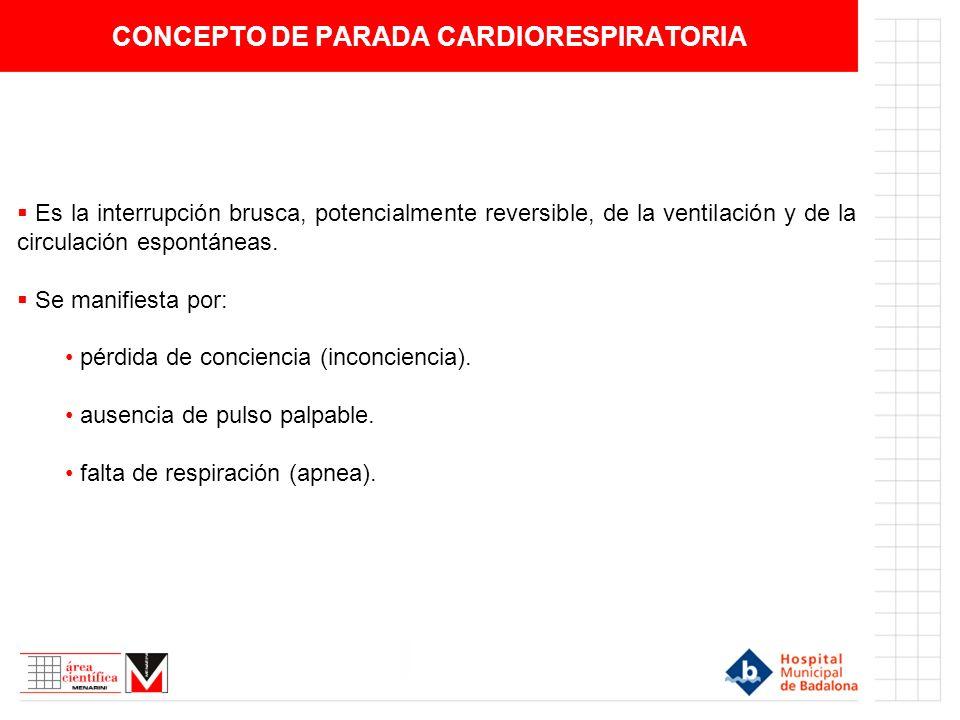 CONCEPTO DE PARADA CARDIORESPIRATORIA Es la interrupción brusca, potencialmente reversible, de la ventilación y de la circulación espontáneas. Se mani